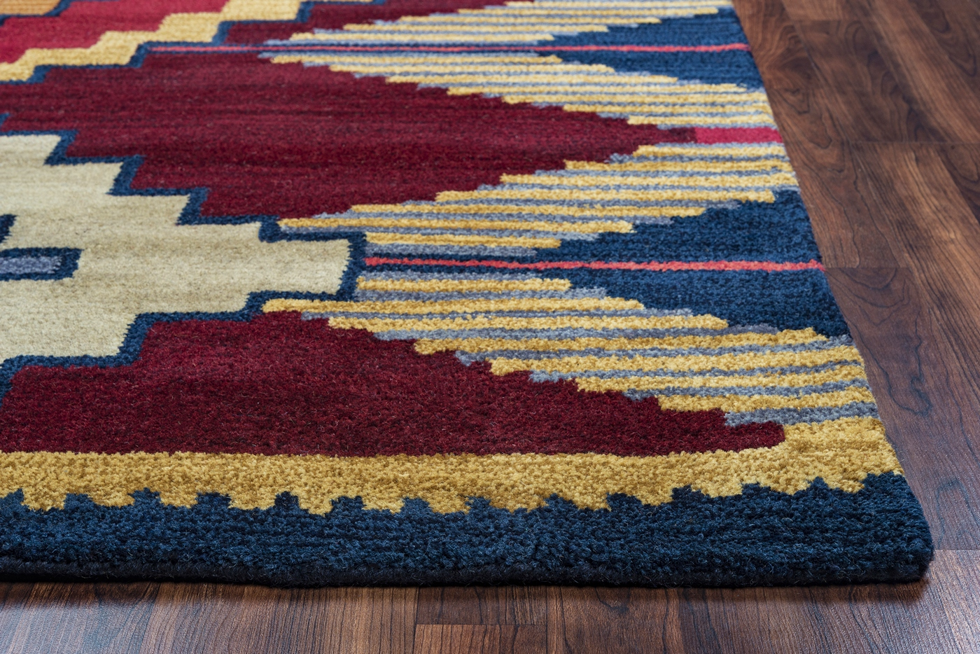 Southwest Aztec Zigzag Wool Area Rug In Blue Navy Red Gold 8 x 10