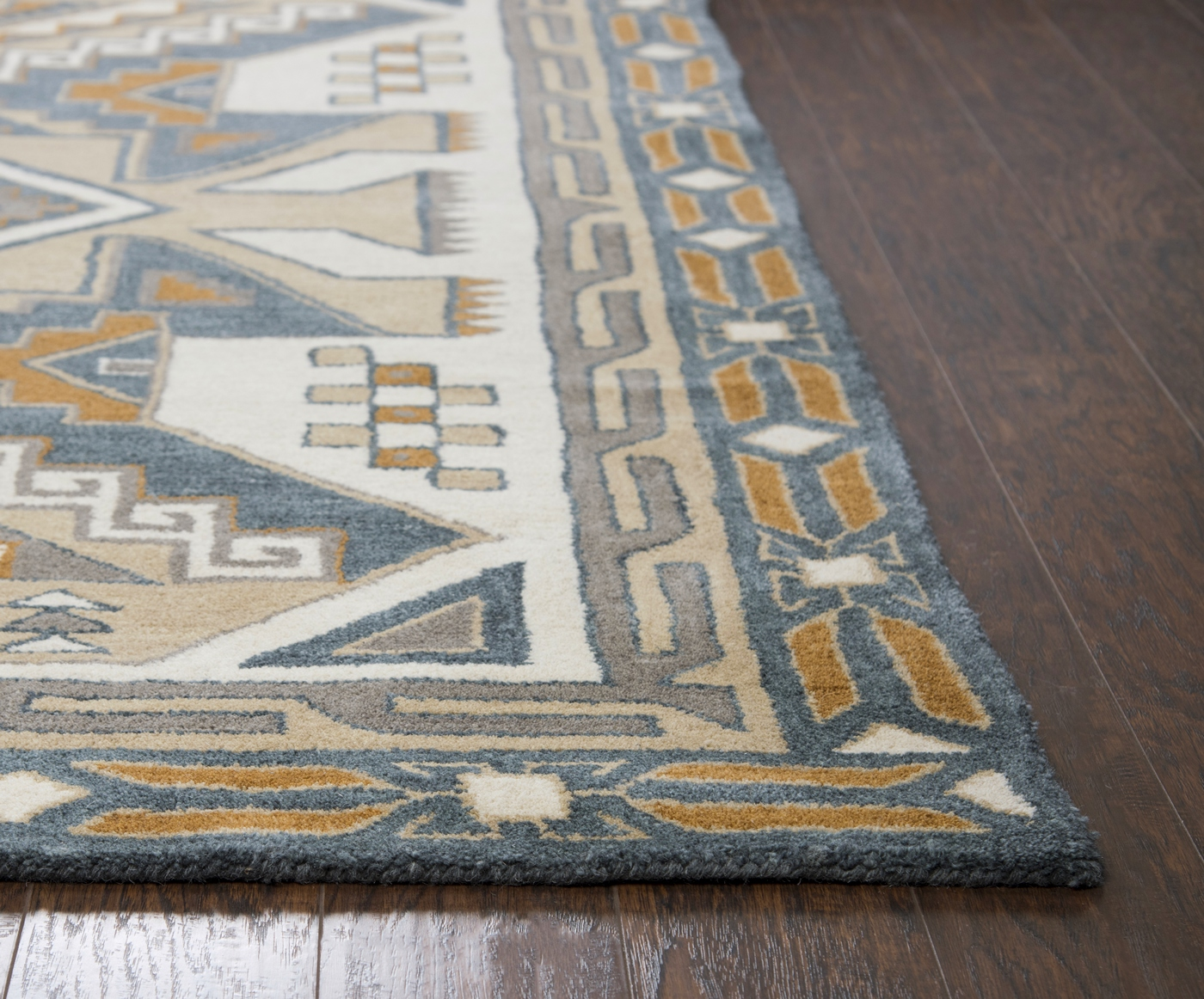 Southwest Ornate Aztec Wool Area Rug In Gray  Tan 8 x 10