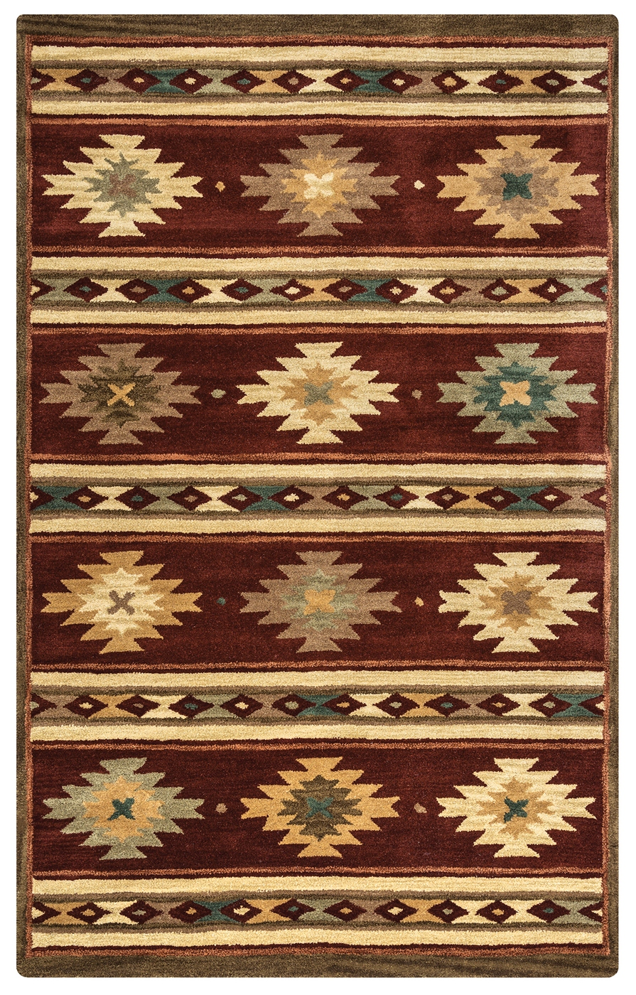 Southwest Tribal Ornamental Wool Area Rug In Red Tan Sage Teal 8 x 10
