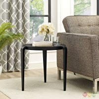 Spin Contemporary 3-legged Round Plastic Side Table, Black