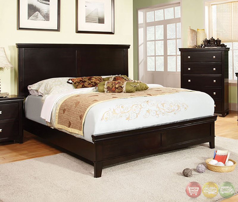 Spruce Transitional Espresso Bedroom Set with Brushed