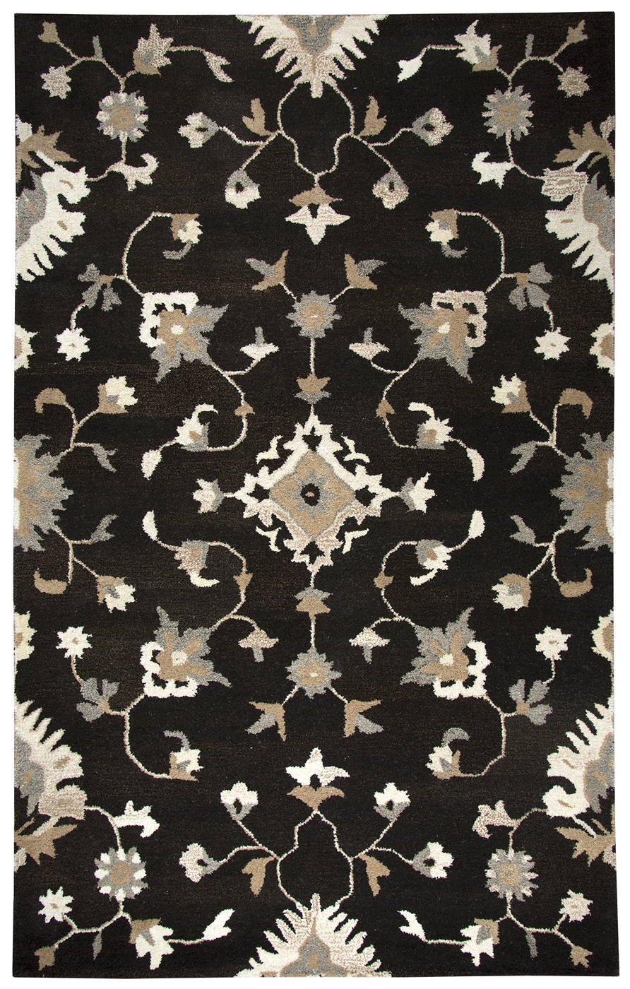 Suffolk Floral Vines Wool Area Rug In Brown  Natural 10