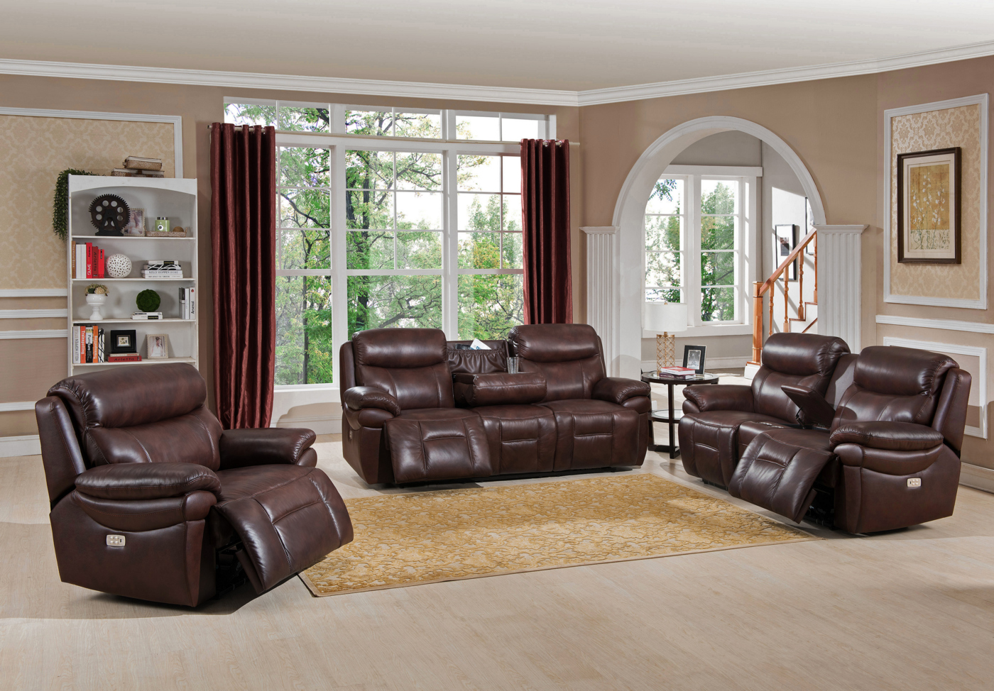 nora brown leather reclining 3 pc living room sofa set studio sofas summerlands powered 3pc in genuine