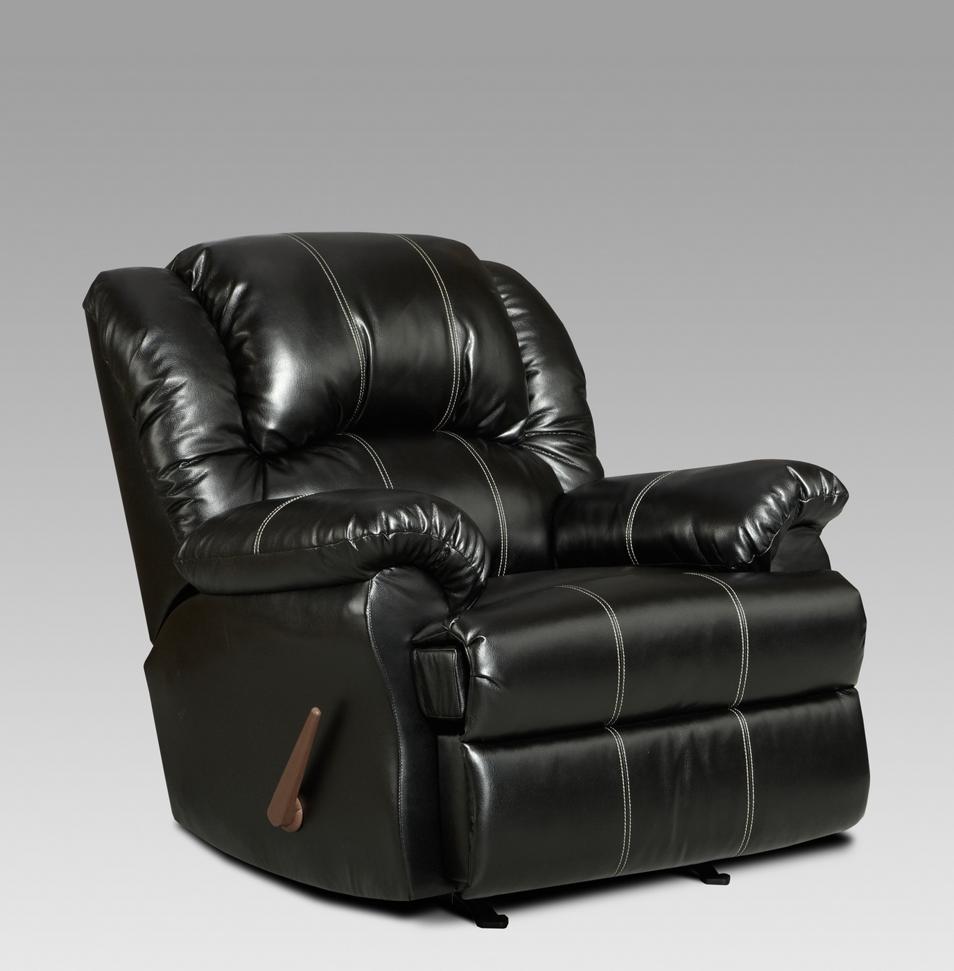 reclining arm chair metal chairs ikea taos black bonded leather rocker recliner casual