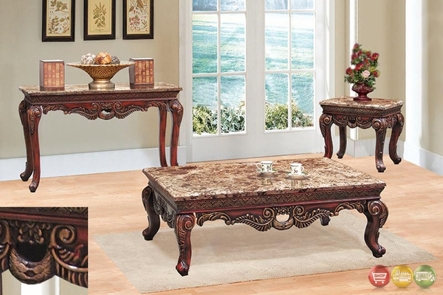 3 piece table set for living room mattress sofa fontaine traditional love seat chair exposed coffee end w marble tops