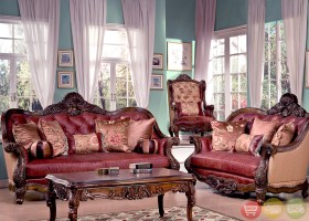 Traditional Luxury Leather Formal Living Room Sofa Set HD 3311