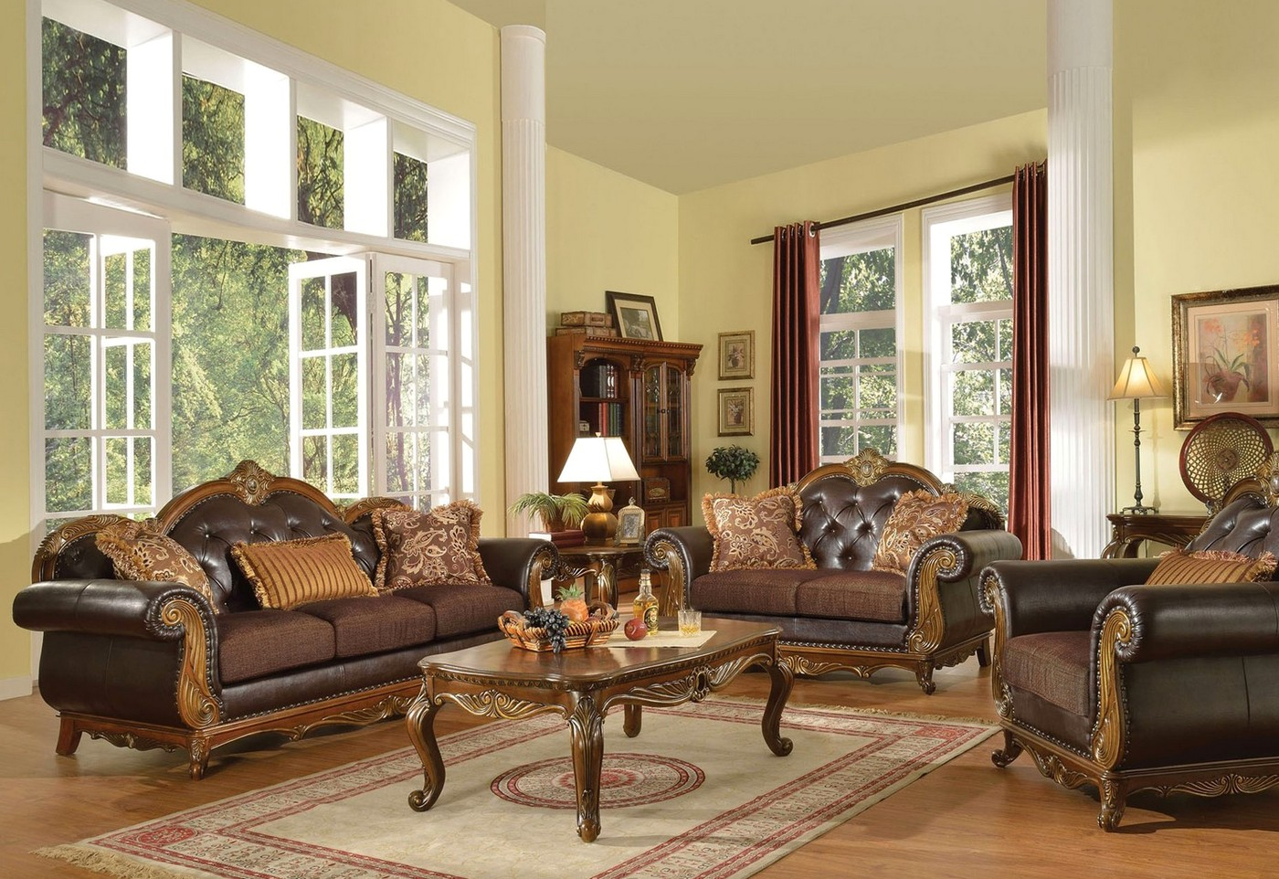 formal living room accent chairs ball as desk chair dorothea traditional sofa set w wood