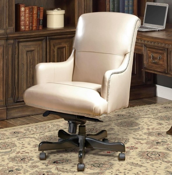 traditional leather office chair Traditional Office Furniture Desk Chair Beige Leather