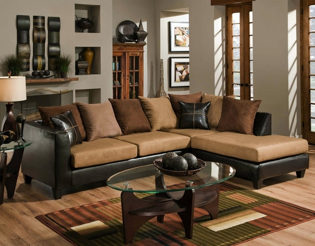 Chocolate Brown Sectional Sofa  Faux Leather Microfiber