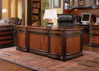 Two Tone Wood Executive Home Office Desk with 5 Drawers ...