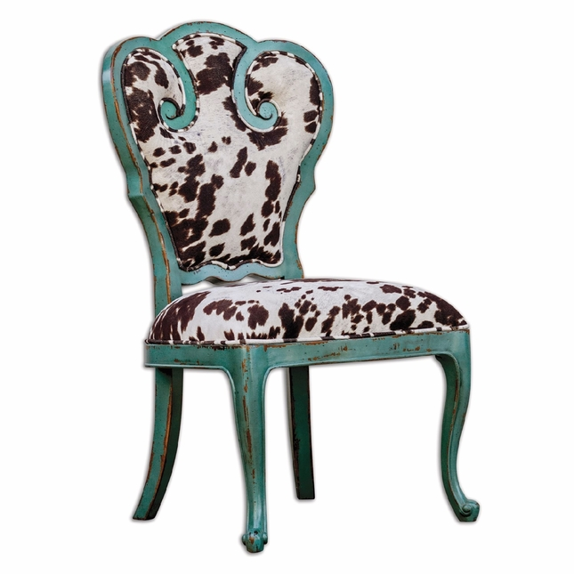 cowhide print accent chair best high for easy cleanup chahna turquoise cow western style 23620