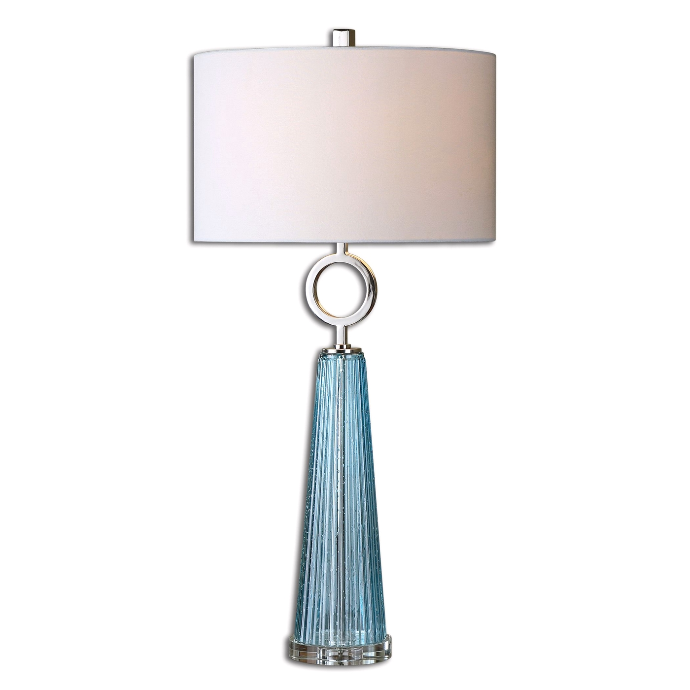 Navier Seeded Blue Ribbed Glass Table Lamp 27698