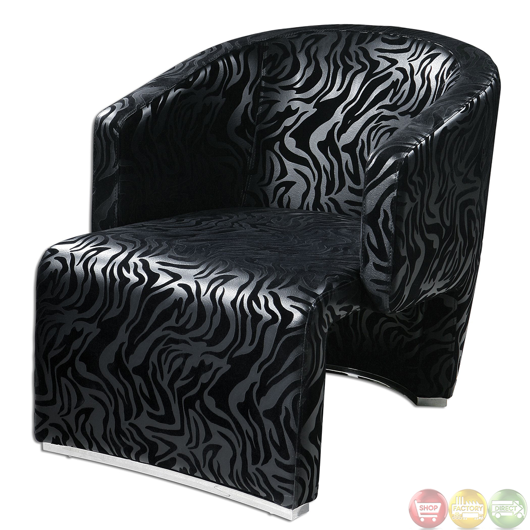 Zebra Accent Chair Yareli Black Zebra Print And Chrome Accent Chair 23139