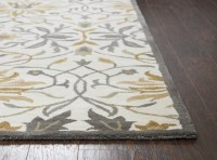 Valintino Floral Ornamental Wool Area Rug In Gray & Yellow ...