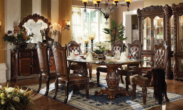 """Vendome Formal 96"""" Glass Top Double Pedestal Dining Table"""