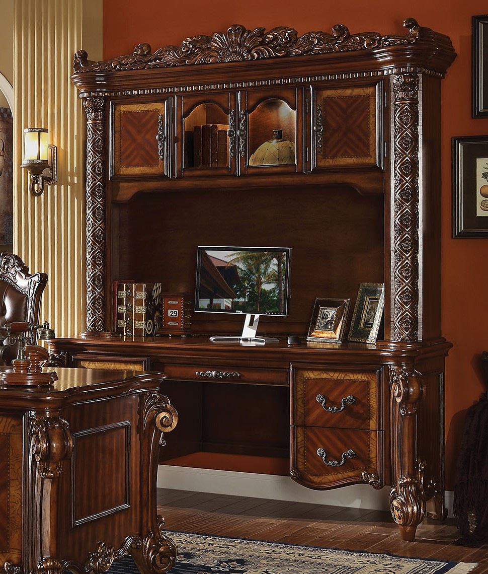 modway office chair hyken accessories vendome ornate traditional computer desk & hutch in brown cherry