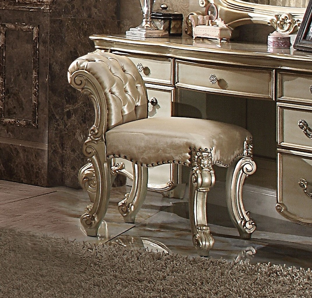 Gold Vanity Chair Vendome Traditional Button Tufted Beige Vanity Stool In
