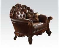 Vendome Victorian Brown Faux Leather Chair With Carved