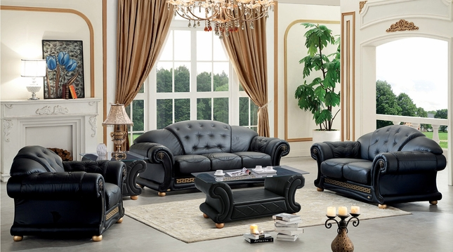 black leather living room front fifth wheel models versace set italian top grain luxurious sofa