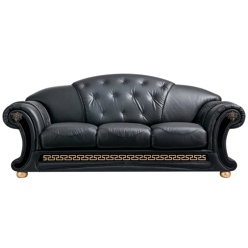 leather sofa bed pull out restoration hardware replica black sleeper | tufted