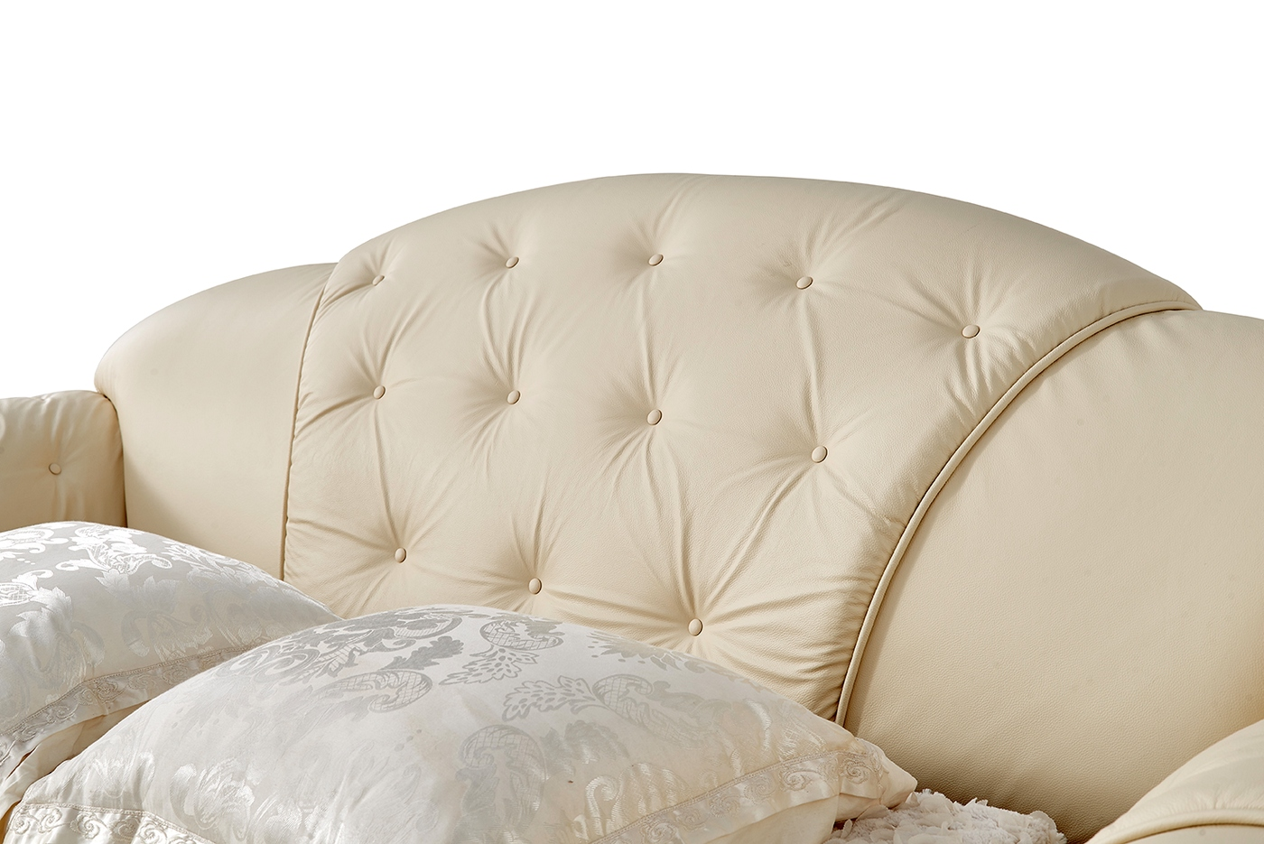 italian leather sofa sleeper ashley franden durablend reviews versace luxury button tufted ivory pull