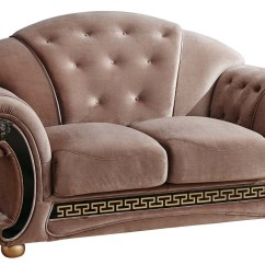 Versace Sofa Bentley Sectional Leather Tufted Brown Fabric And Loveseat Set With