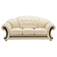 White Tufted Ivory Leather Versace Sofa