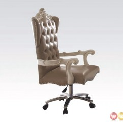 White Leather Swivel Desk Chair Dark Teal Sashes Versailles Bone Tufted Lift And