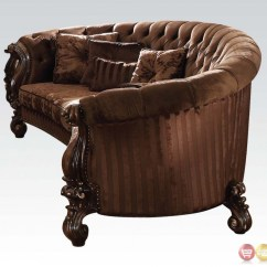 Velvet Tufted Chair Small Outdoor Chairs Versailles Button Brown Sofa And Set