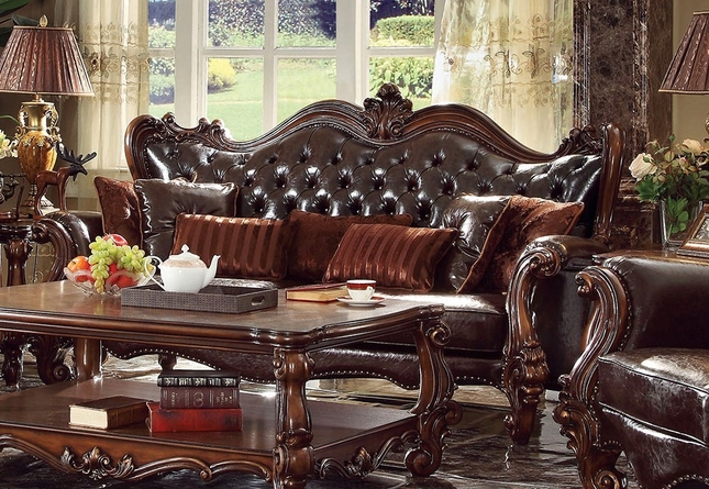 simmons sofa and loveseat frozen flip open target versailles victorian formal dark brown leather with ...