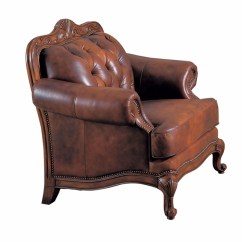 Genuine Leather Chair Keekaroo High Reviews Victoria Traditional Button Tufted Carved Wood Frame