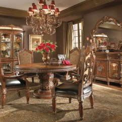 Round Living Room Set Gray And White Michael Amini Villa Valencia Chestnut Dining Table Traditional By Aico