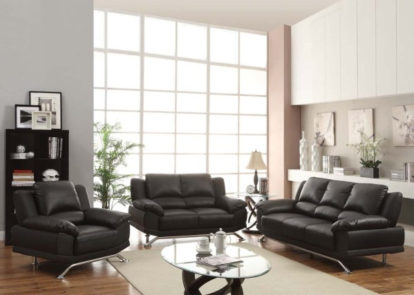 modern living room furniture Maigan Black Ultra Modern Contemporary Living Room Furniture Sofa Set