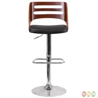 Walnut Bentwood Adjustable Height Barstool With Black ...