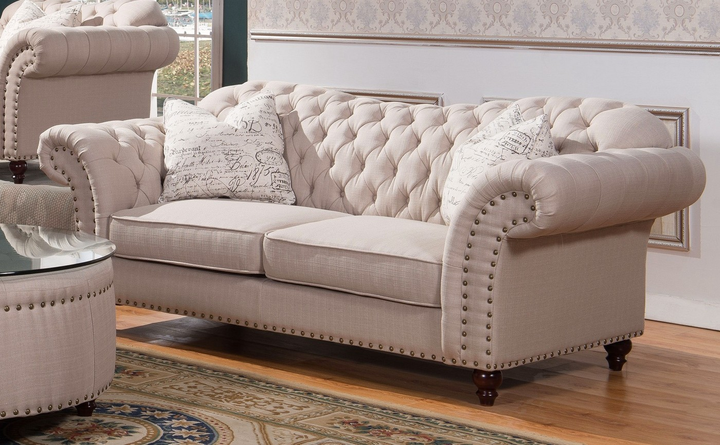 tufted linen sectional sofa rattan table walton classic sweetheart button and loveseat