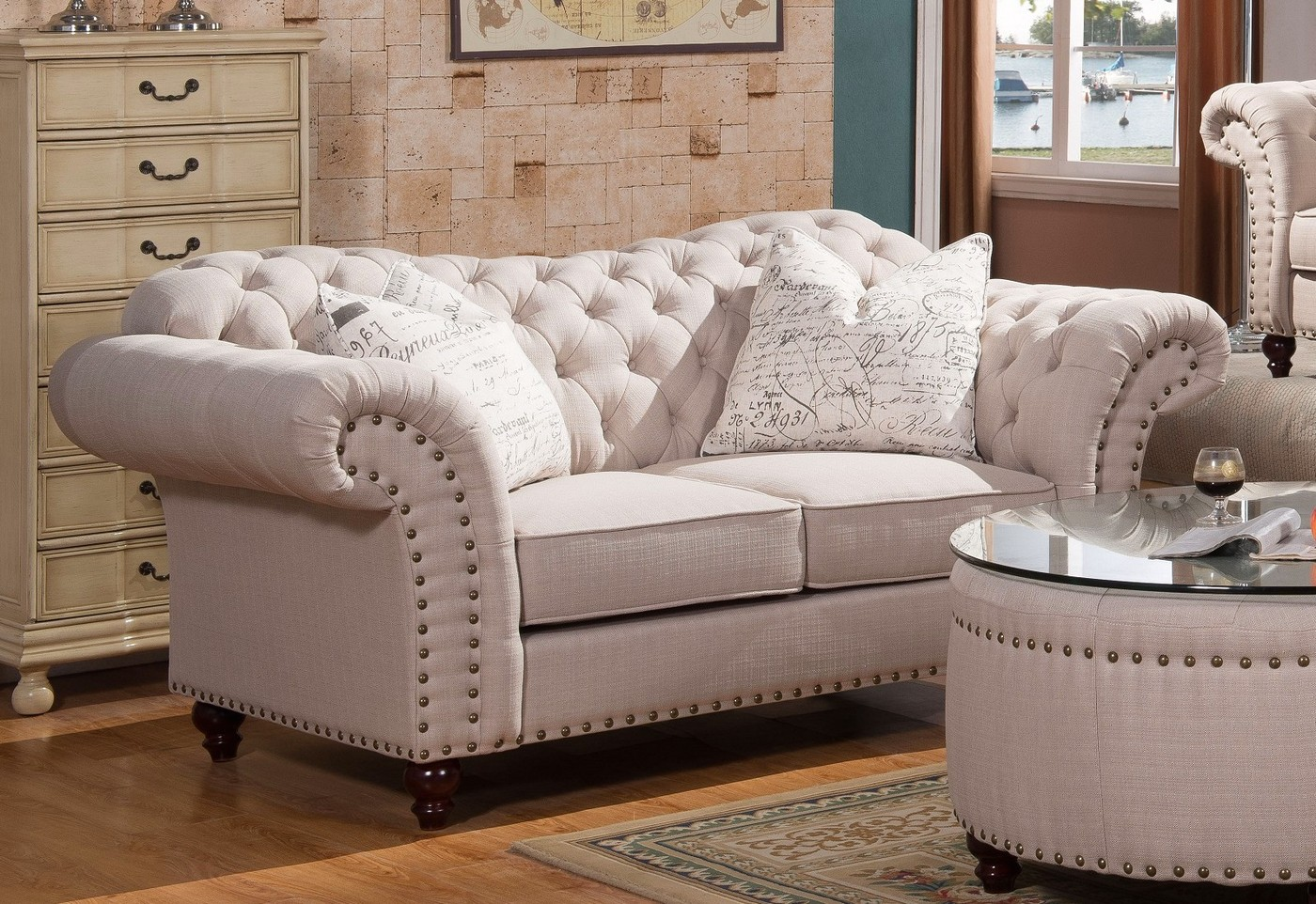 tufted button sofa raymour and flanigan sofas walton classic sweetheart loveseat