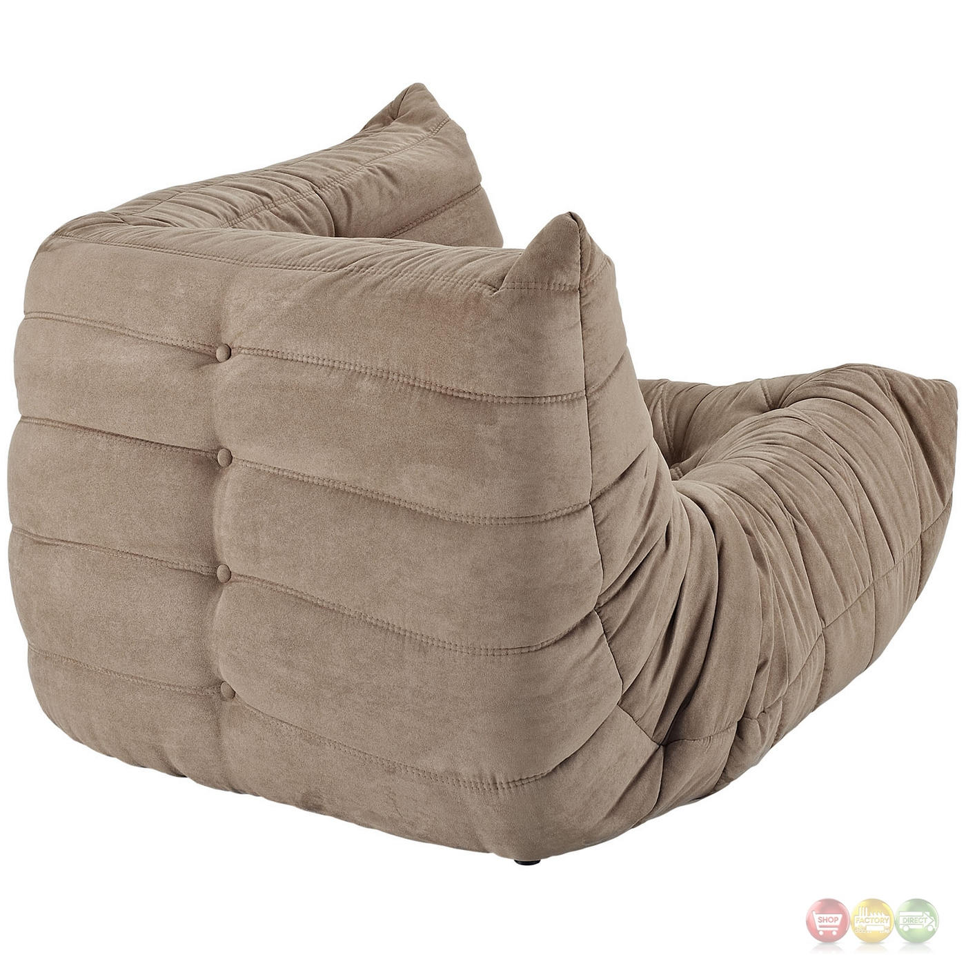 Brown Bean Bag Chair Wave Runner Contemporary Bean Bag Style Upholstered Corner