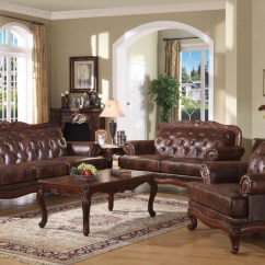 Leather Nailhead Sofa Set Durable Fabric Birmingham Brown Button Tufted Carved ...