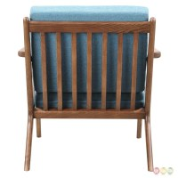 Zain Mid Century Modern Blue Fabric Chair With Wooden