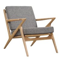Mid-Century Modern Wood Chair | Grey Fabric Chairs