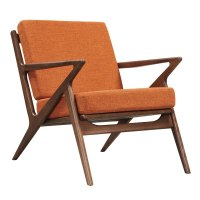 Zain Mid Century Modern Orange Fabric Chair With Wooden