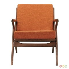 Mid Century Modern Accent Chair Orange Recliner Lawn Zain Fabric With Wooden