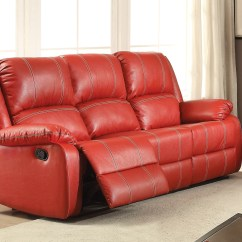 Faux Leather Reclining Sofa Set Bed Ukuran 180 X 200 Zimra Contemporary And Loveseat In Red