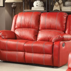 Contemporary Reclining Sofa Leather Simmons Ski Onyx Bonded Sectional Zimra And Loveseat Set In Red