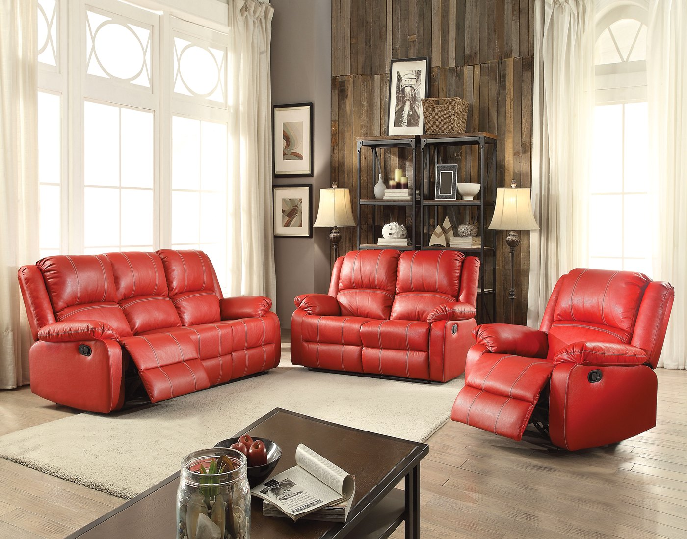 faux leather reclining sofa set designer sofas uk zimra contemporary and loveseat in red