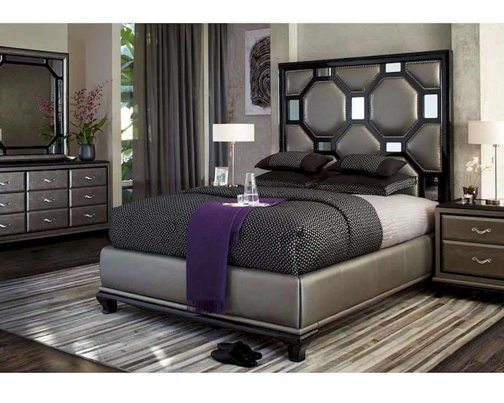 AICO After Eight Bedroom Set In Black Onix AI 190 BLK