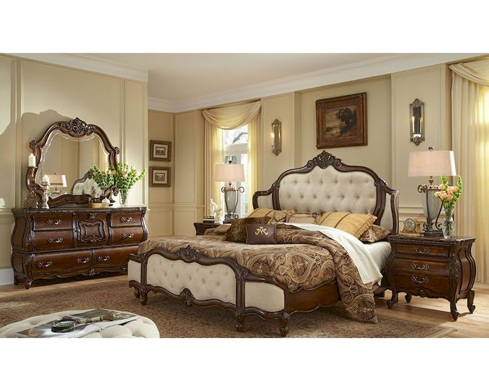 aico bedroom set upholstered headboard lavelle melange ai-540set-f