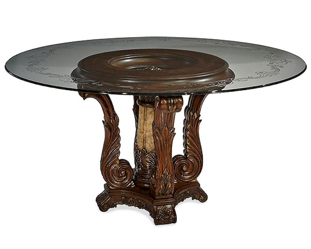 glass top kitchen table premade island aico victoria palace round dining ai 61001 29