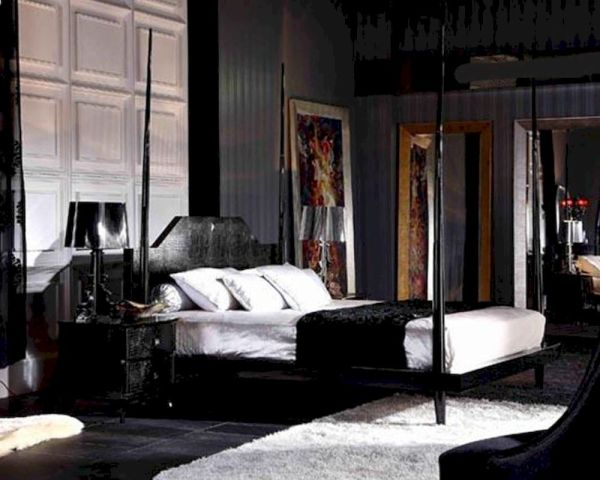 Black Crocodile Lacquer Four Poster Bed 44b222bd