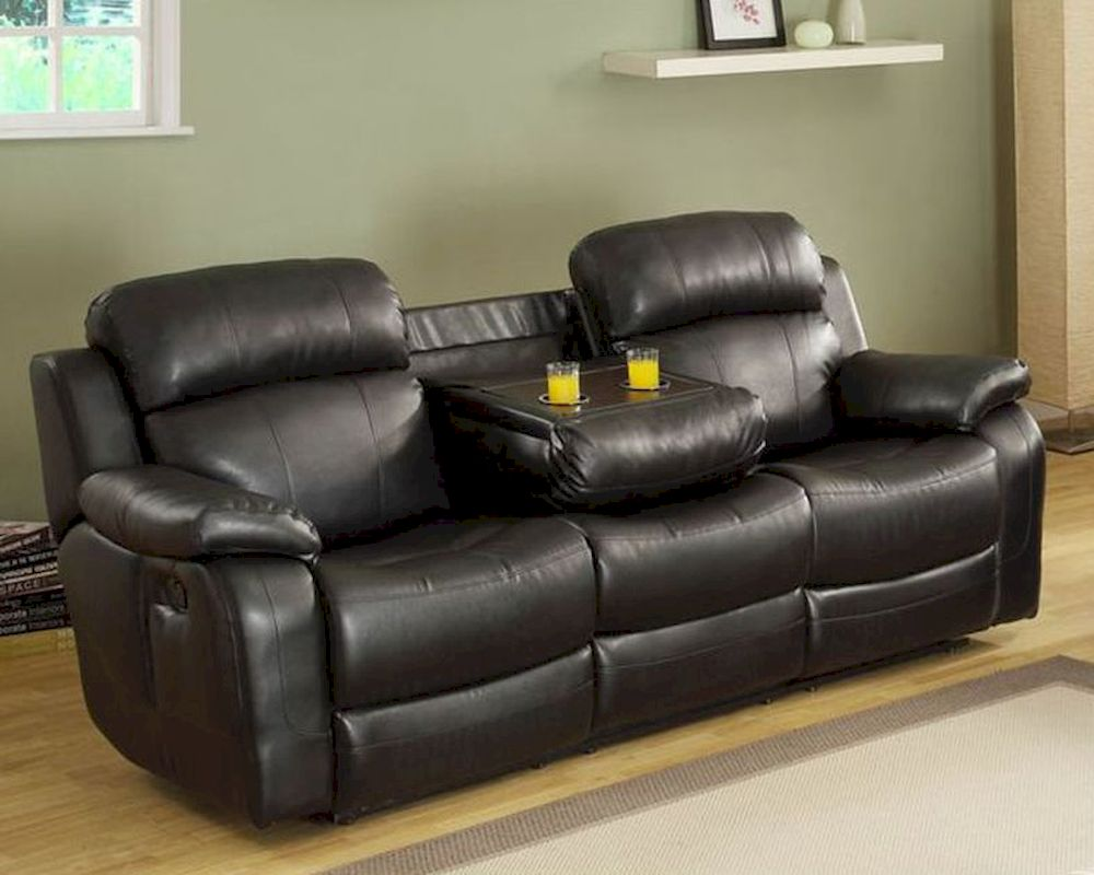Lounge Couch Black Double Reclining Sofa Marille By Homelegance El ...
